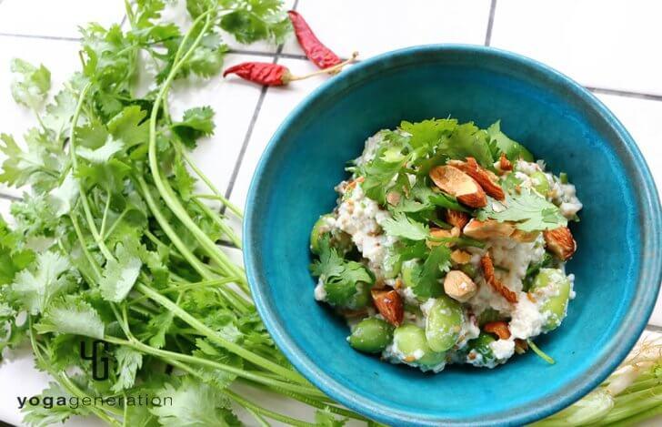 枝豆とパクチーのアジアン白和え