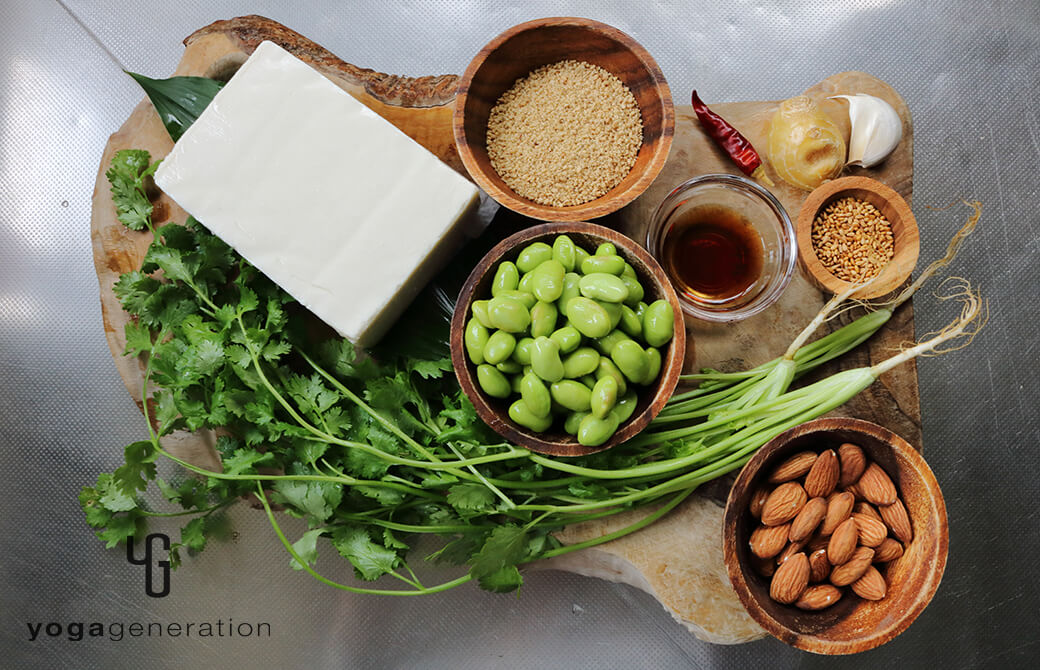 材料の枝豆や豆腐、パクチーなどの食材