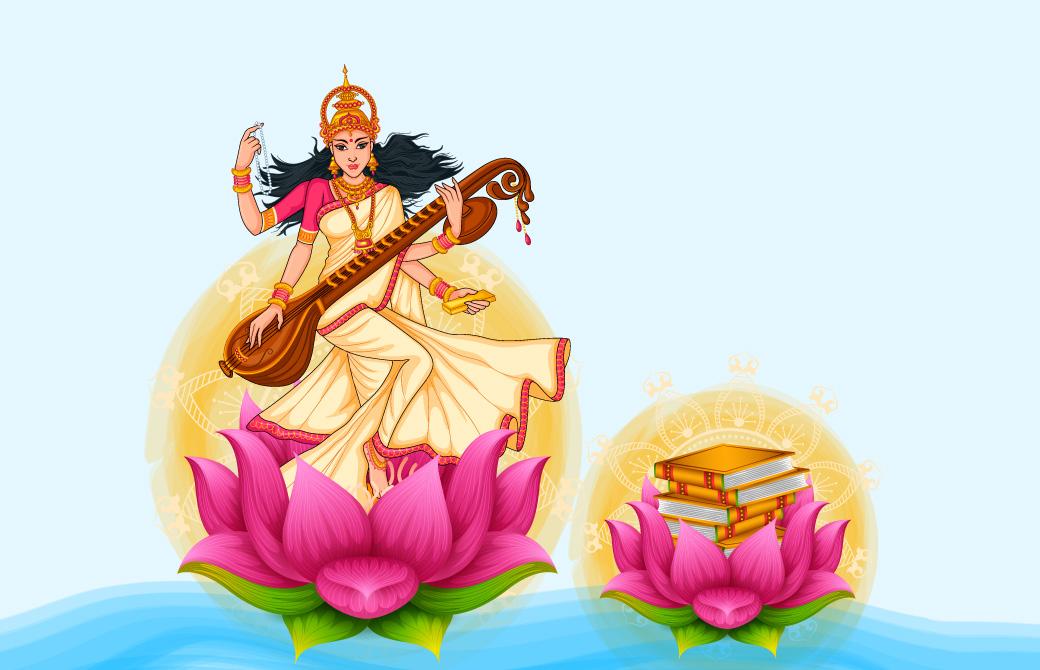 蓮の花とインドの女神たち