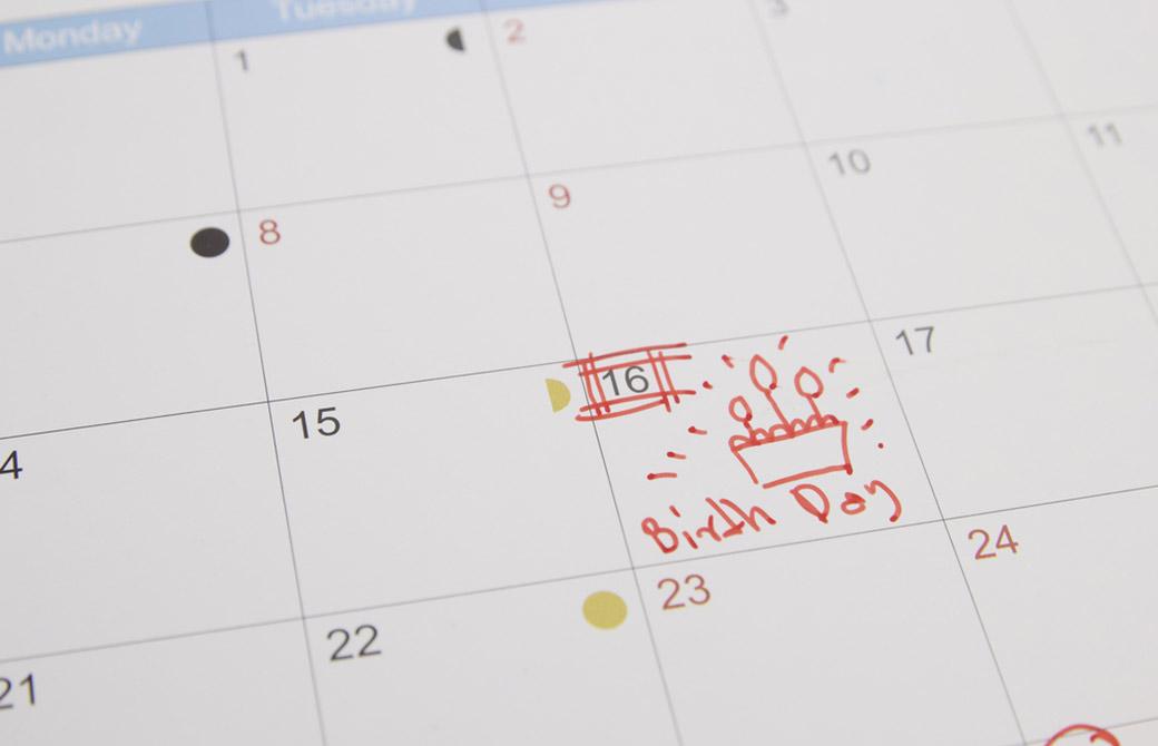 カレンダーの誕生日の印
