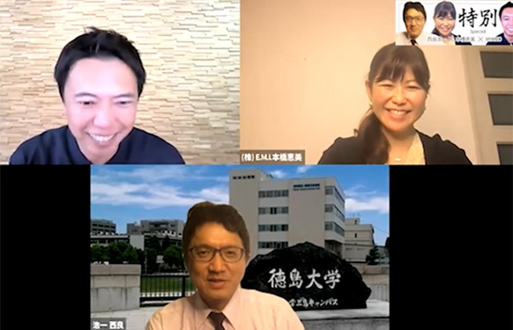 右上:本橋恵美先生、下:西良浩一先生、左上:弊社代表MIKIZO