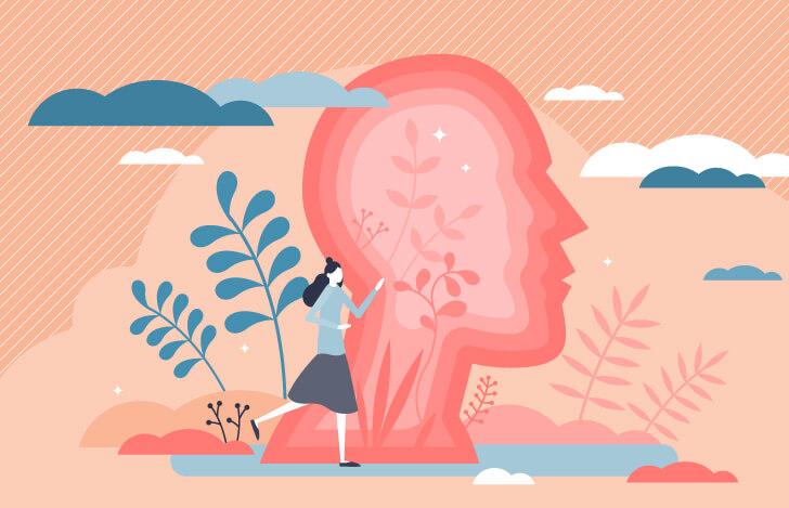 人の頭部を横から見た図解と女性のイラスト
