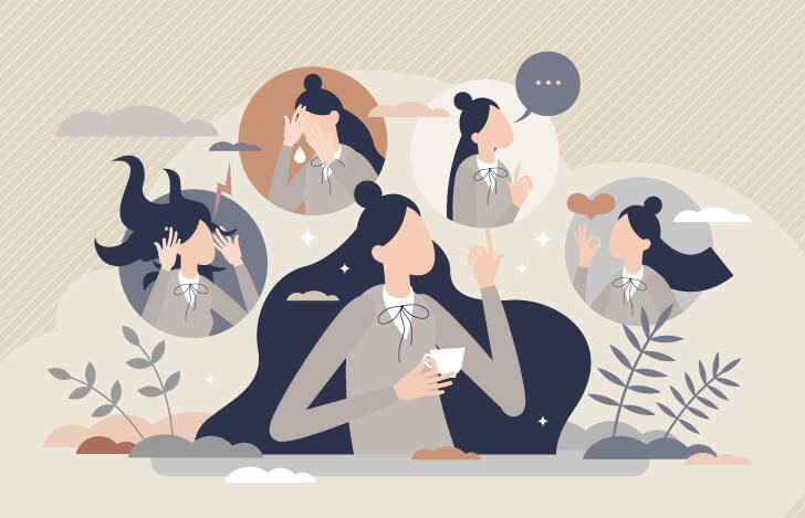 4つの感情について考える女性のイラスト