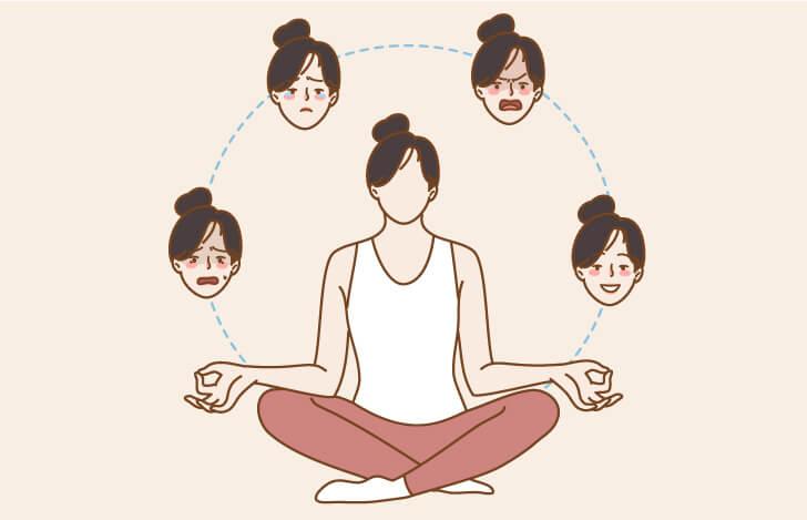 安楽座で座る女性と様々な感情を表す顔のイラスト