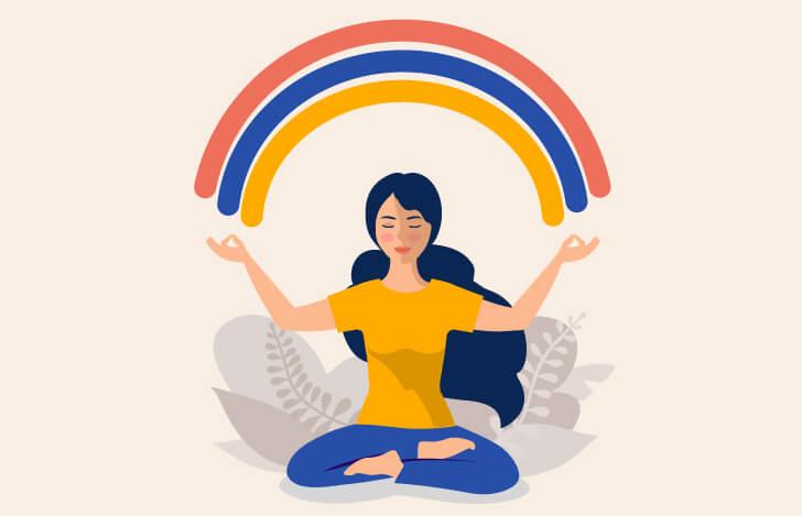 安楽座で座る女性と虹のイラスト