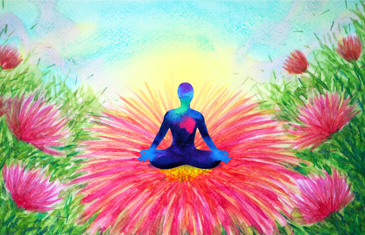 赤い花の上に座る人の青いシルエット