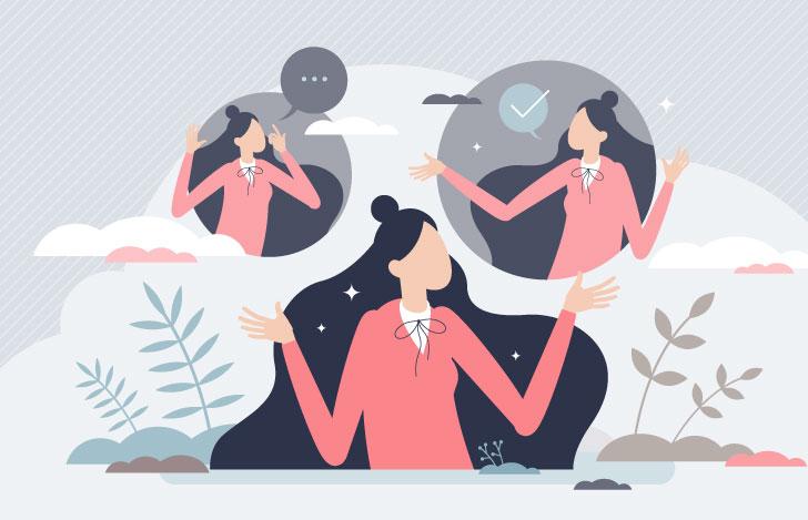 頭の中で自問自答する女性